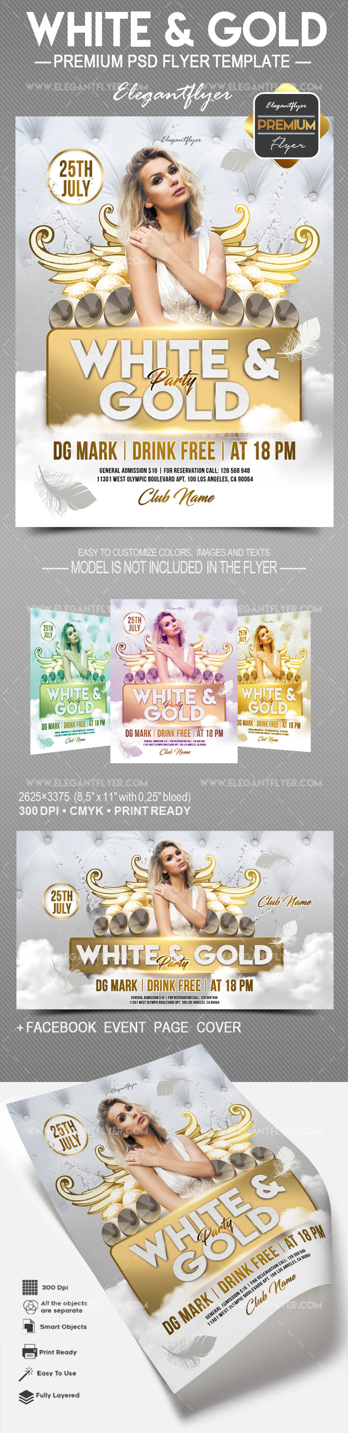 White and Gold – Flyer PSD Template