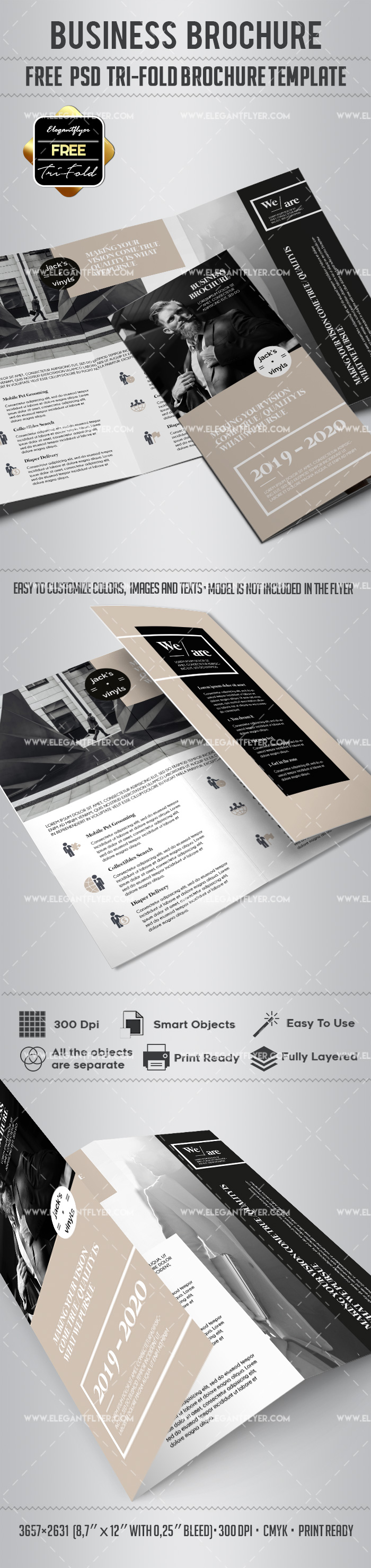 Business – Free Tri-Fold Brochure PSD Template