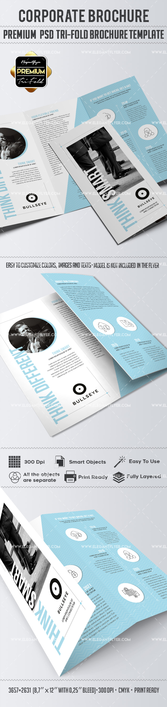Corporate – Premium Tri-Fold Brochure PSD Template