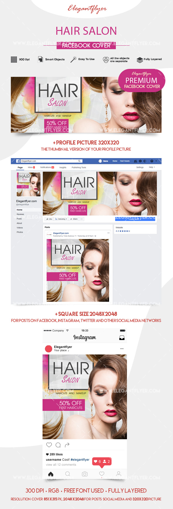 Hair Salon – Facebook Event + Instagram template