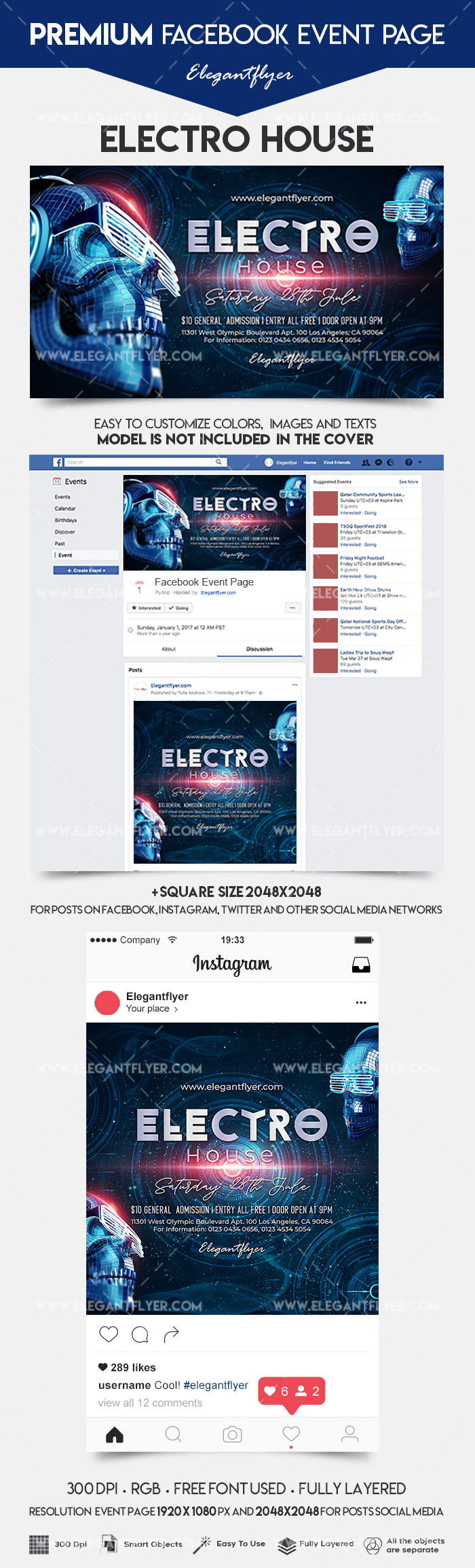 Electro House – Facebook Event + Instagram template