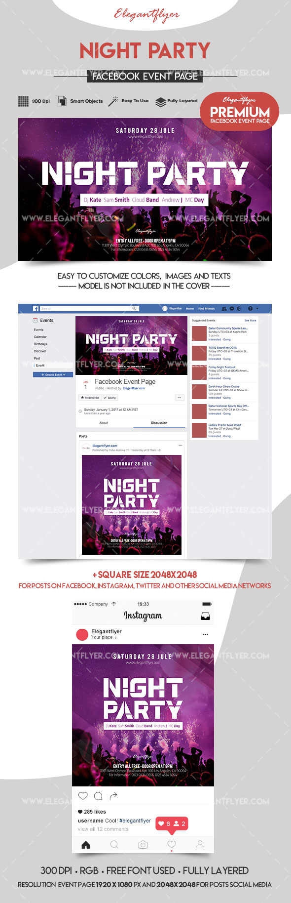 Night Party – Facebook Event + Instagram template