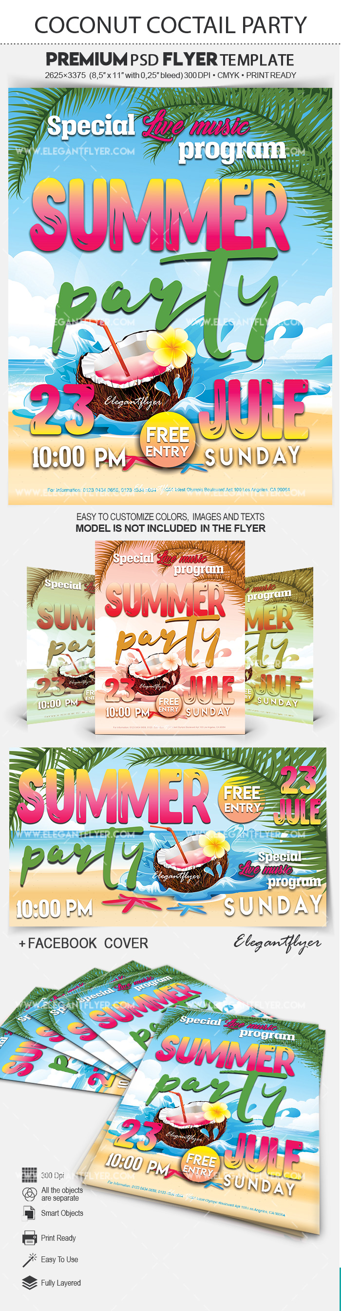 Coconut Coctail Party – Premium Flyer PSD Template