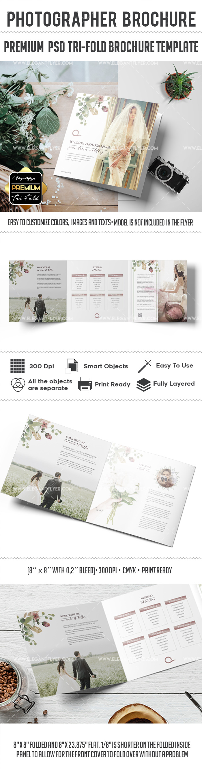 Wedding Photographer – Tri-Fold Brochure PSD Template