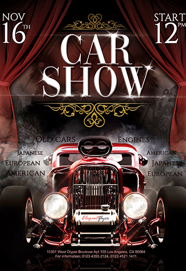 car show free flyer psd template