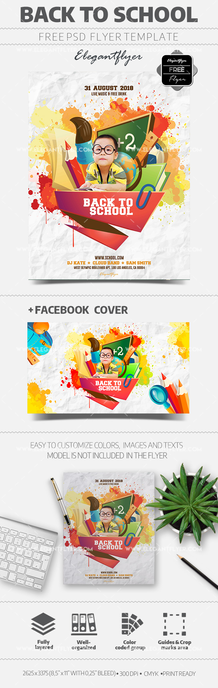 Back To School Party Free Flyer Psd Template By Elegantflyer