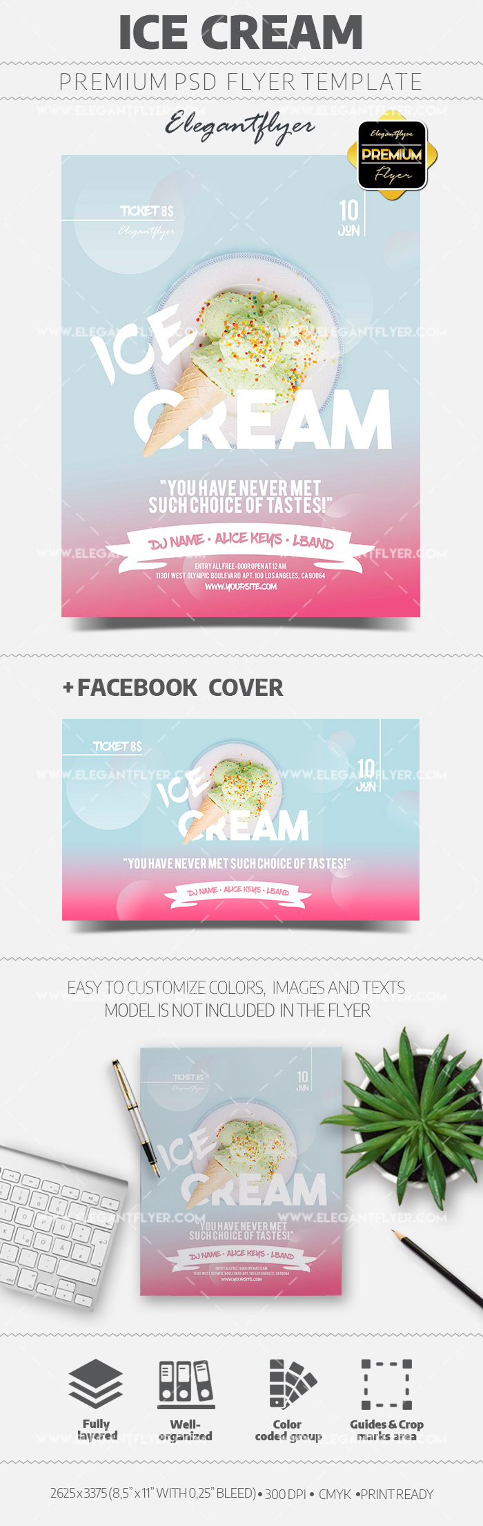 Ice Cream – Flyer PSD Template