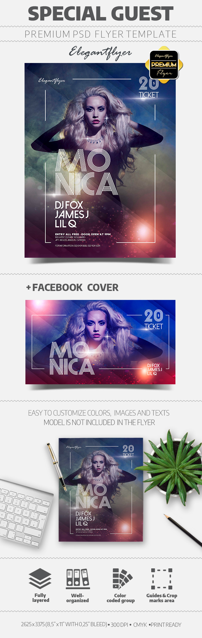 Special Guest DJ –  Flyer PSD Template + Facebook Cover