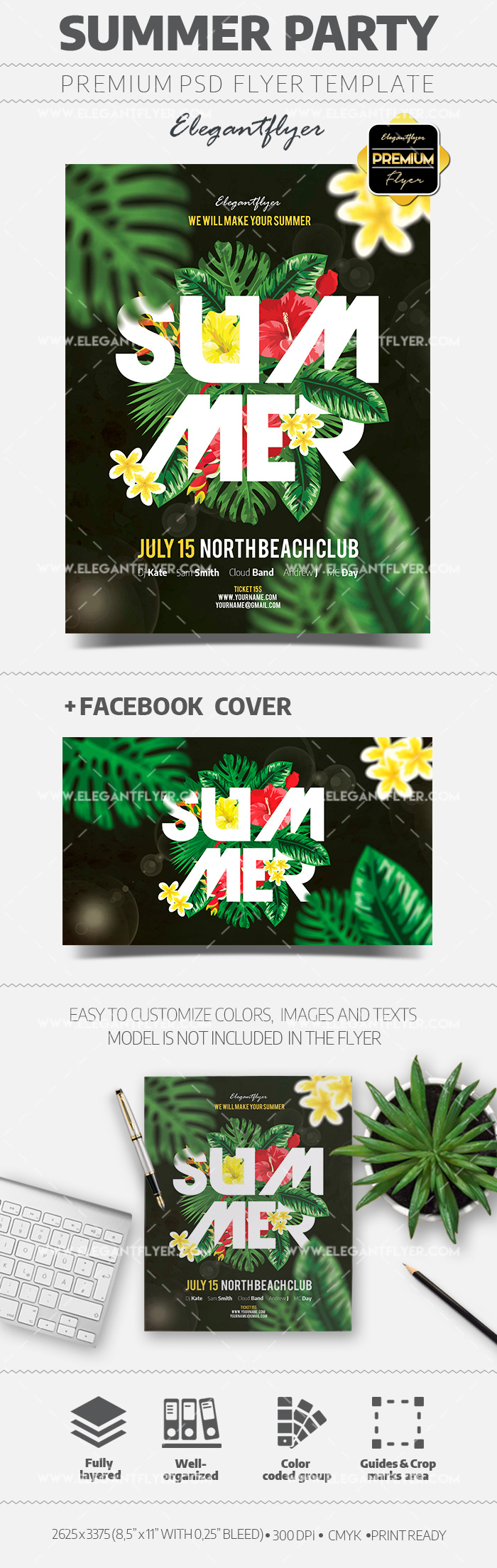 Summer Party – Flyer PSD Template + Facebook Cover