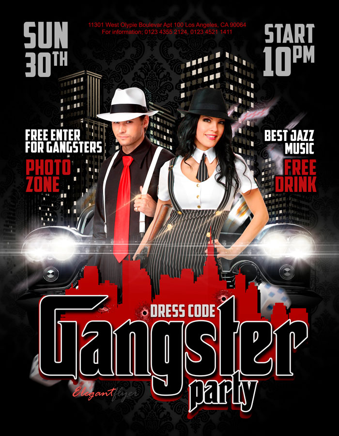 Gangster party – Flyer PSD Template