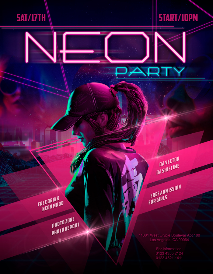 Neon Party – Flyer PSD Template