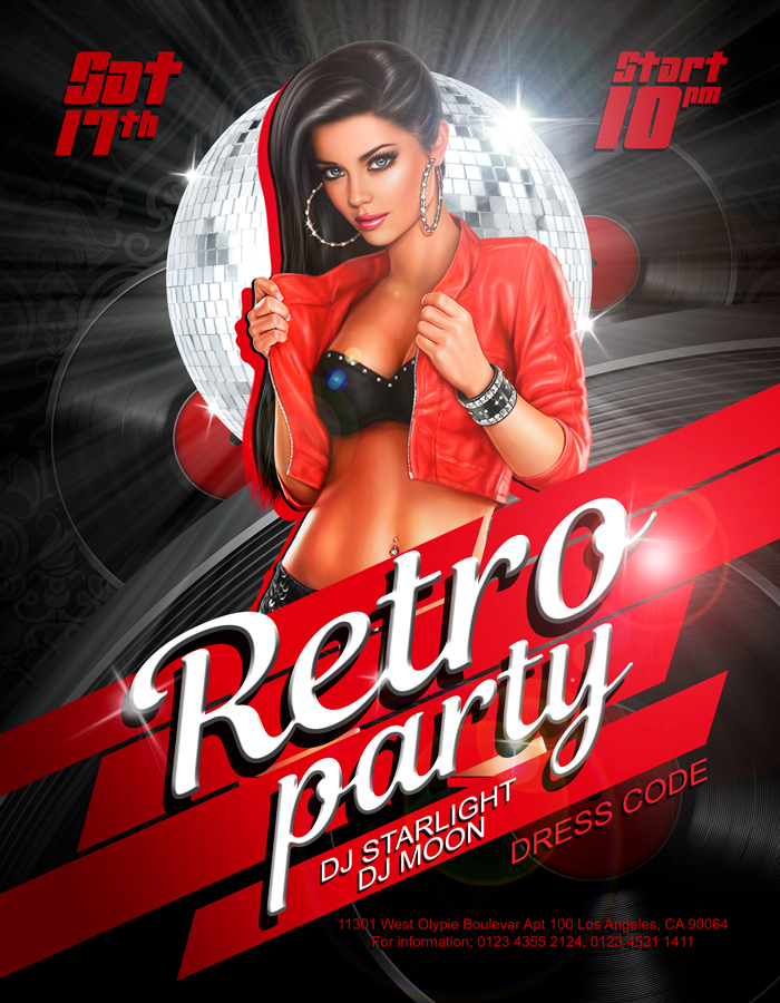 Retro Party – Free Flyer PSD Template