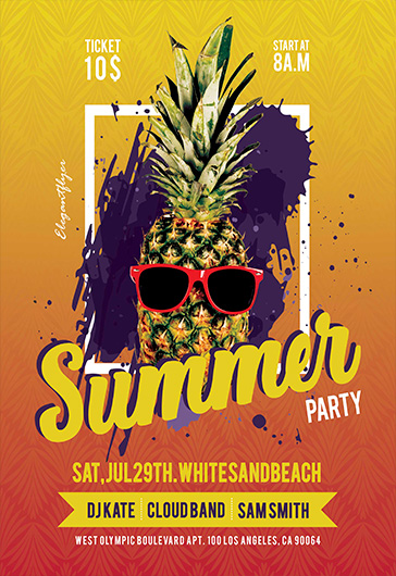Summer Party – Free Flyer PSD Template + Facebook Cover