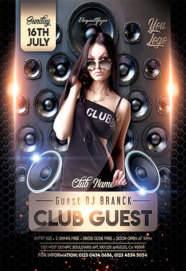 Invited Guest Dj – Free Flyer PSD Template