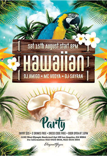 Hawaiian Party – Flyer PSD Template