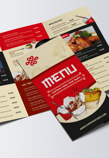 Chinese Menu – Tri-Fold Brochure PSD Template