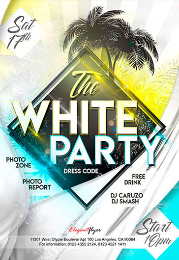 white party free flyer psd template