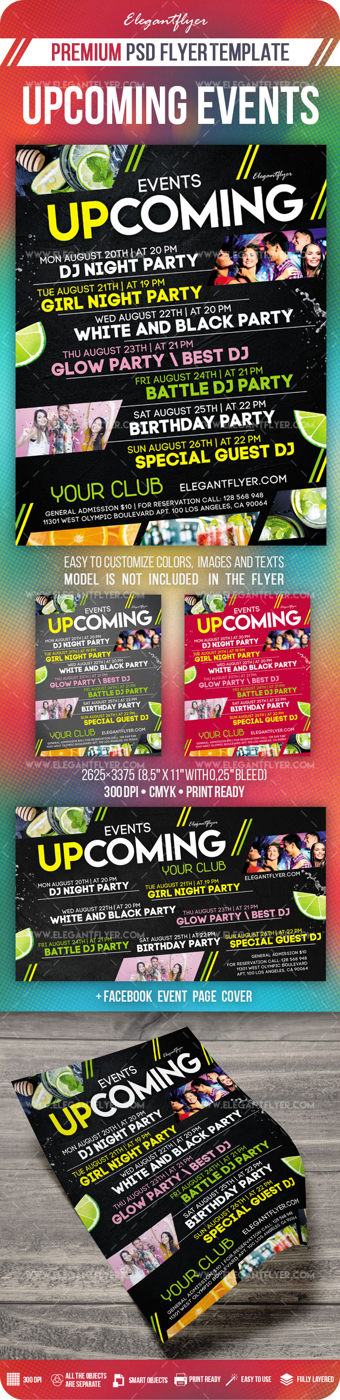 Upcoming Events – Flyer PSD Template + Facebook Cover