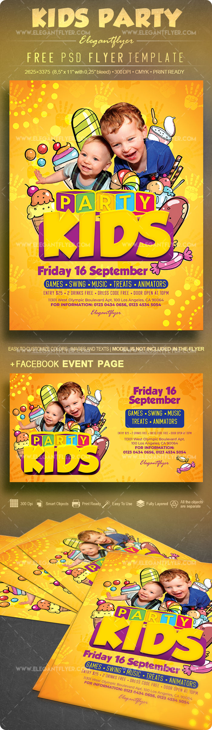 Kids Party – Free Flyer PSD Template