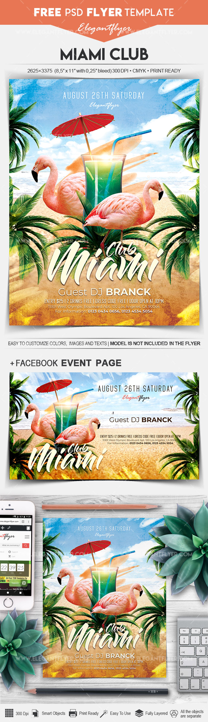 Miami Club – Free Flyer PSD Template