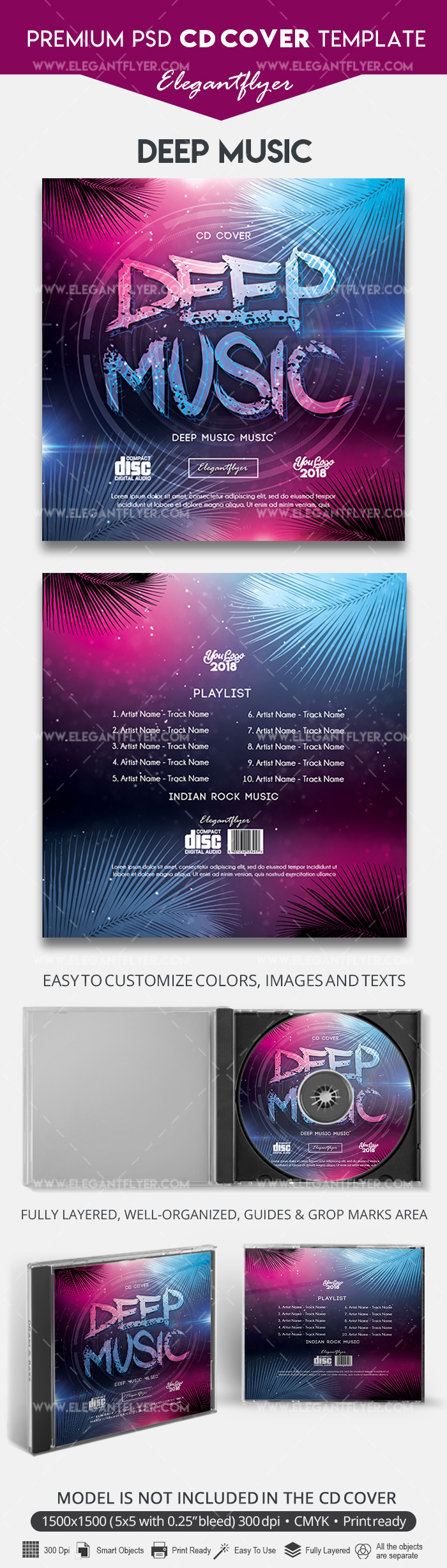 Deep Music – CD Cover Template