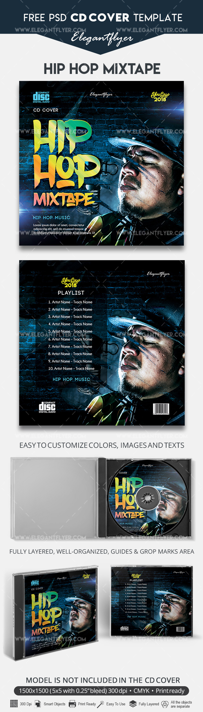 Hip Hop Mixtape – Free CD Cover Template