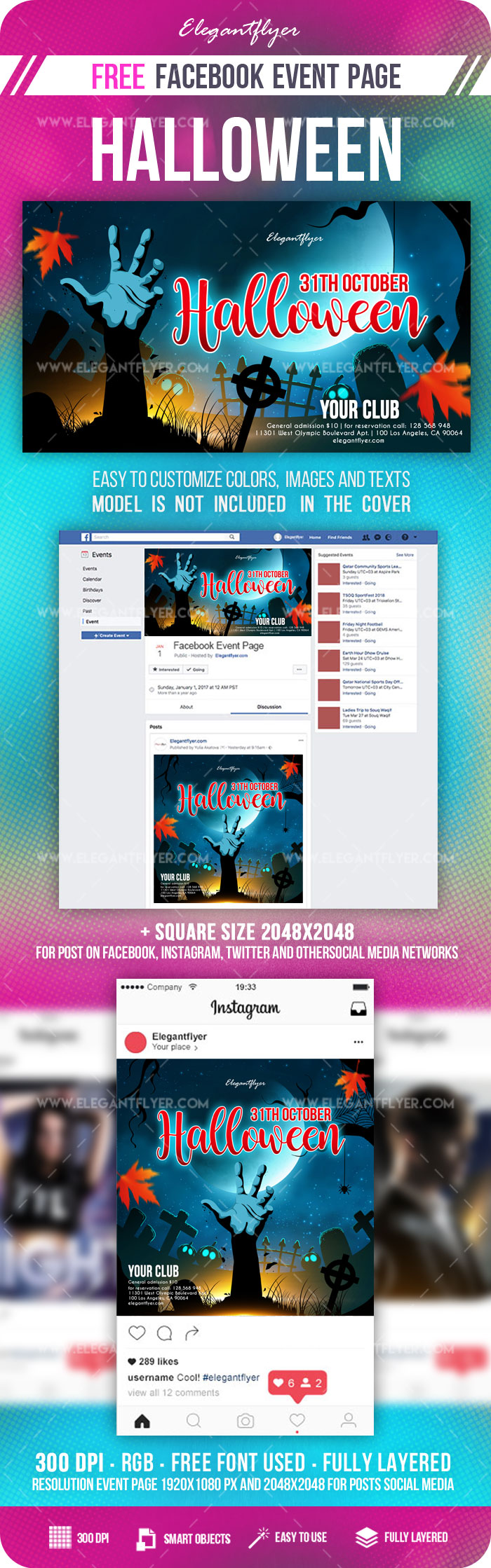 Halloween – Free Facebook Event + Instagram template