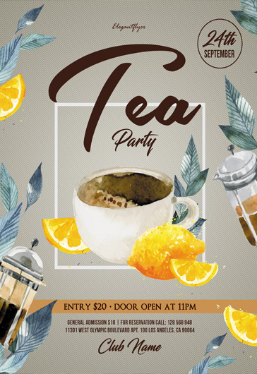 tea party  u2013 flyer psd template  u2013 by elegantflyer