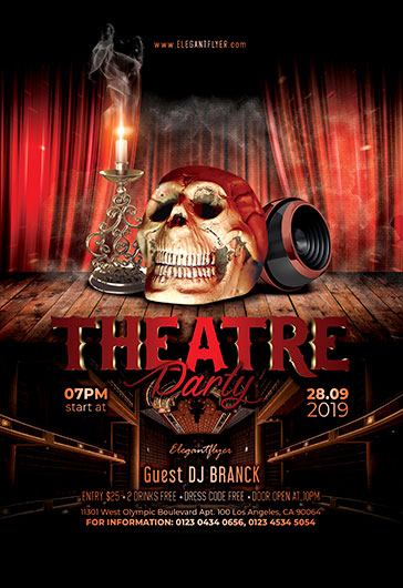 theatre party free flyer psd template
