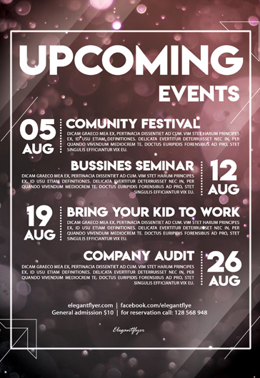 Upcoming Events – Flyer PSD Template