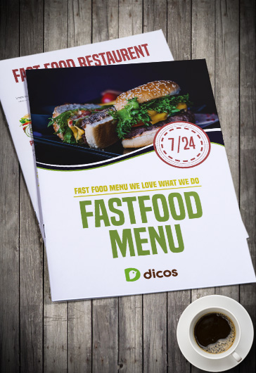 Fast Food Menu – Bi-Fold Brochure PSD Template