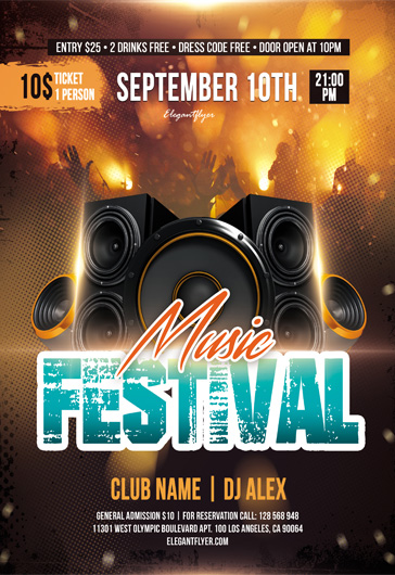 music festival free flyer psd template