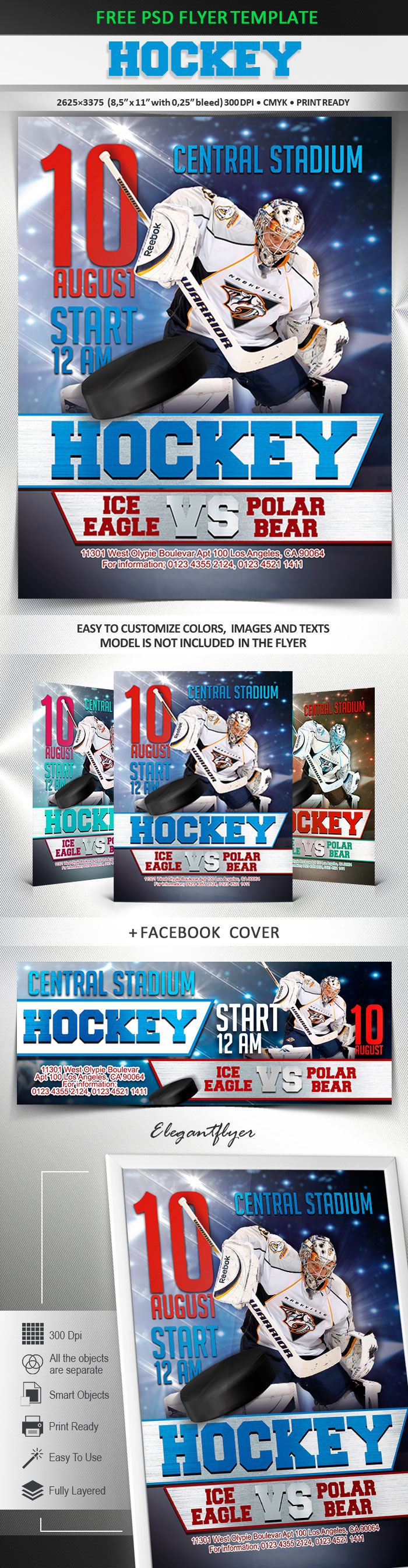 Hockey – Free Flyer PSD Template