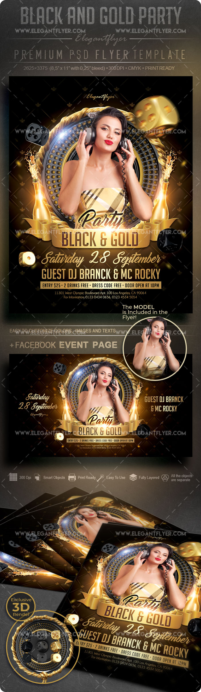 Black and Gold Party – Flyer PSD Template