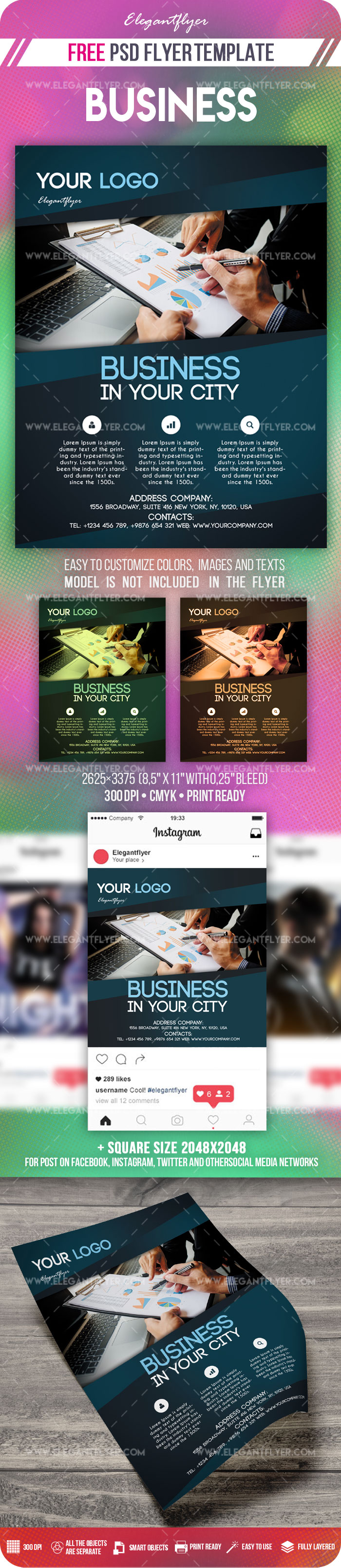 Business – Free Flyer PSD Template + Instagram template
