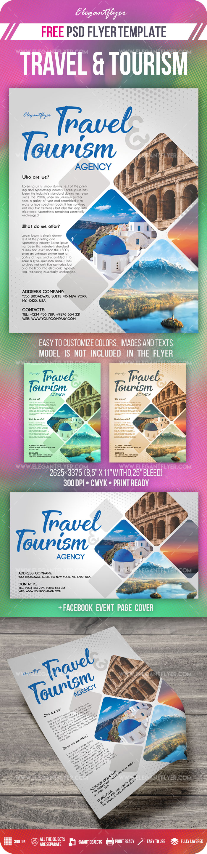 travel and tourism  u2013 flyer psd template  u2013 by elegantflyer