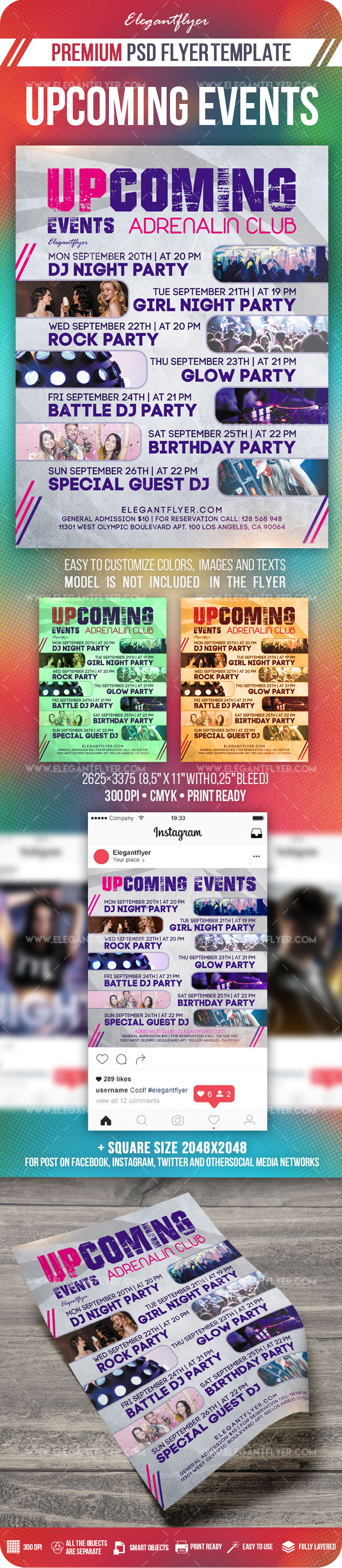 Upcoming Events – Flyer PSD Template + Instagram template