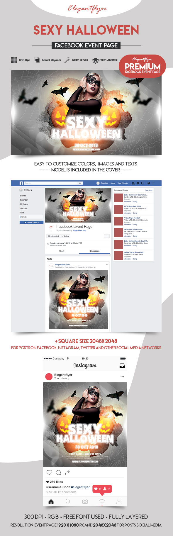 Sexy Halloween – Facebook Event + Instagram template