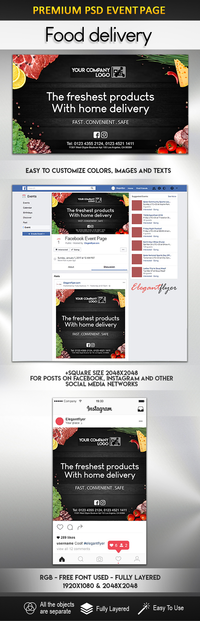 Food delivery – PSD Facebook Event + Instagram template