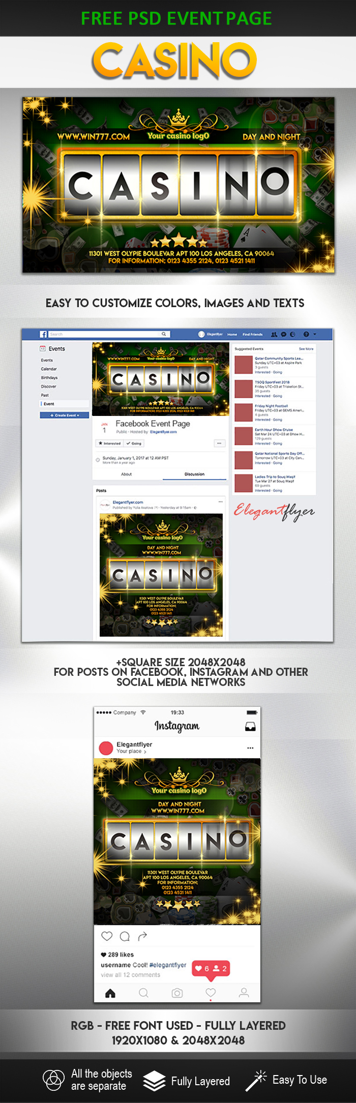 Casino – Free Facebook Event + Instagram template