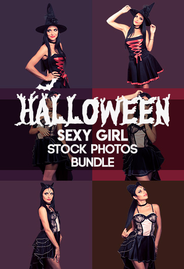 Halloween Sexy Girl Stock Photos Bundle