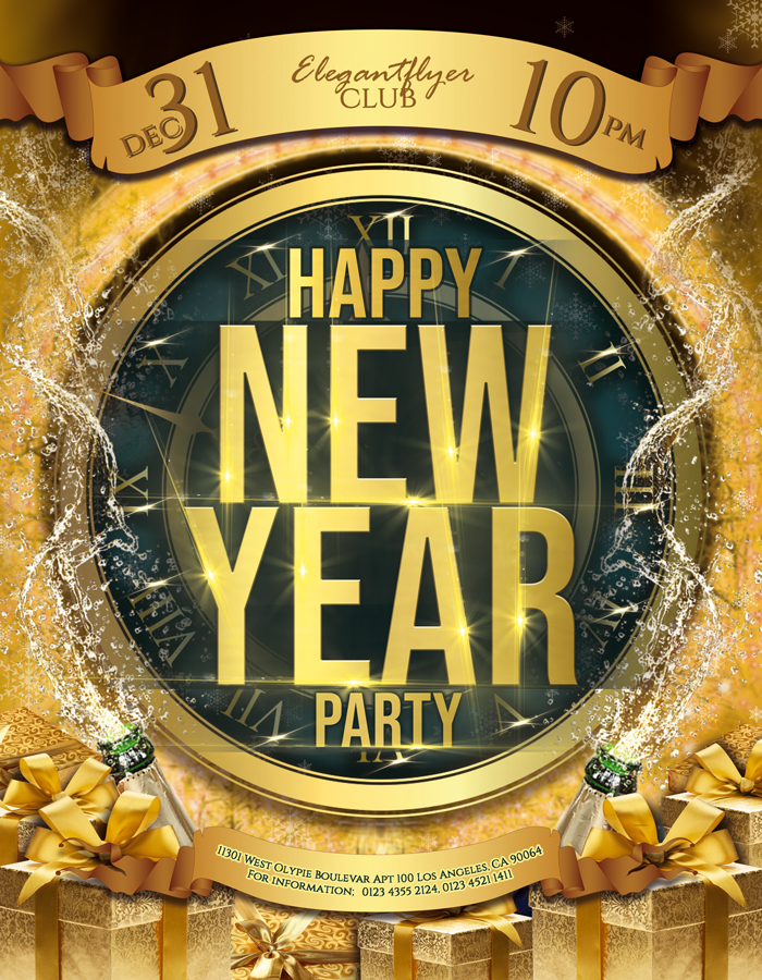 Happy New Year Party – Flyer PSD Template
