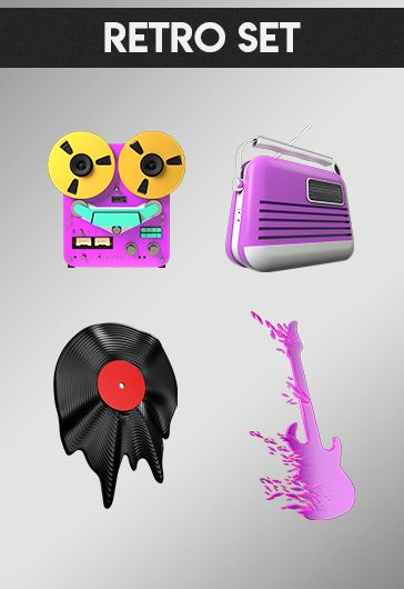 Retro Set – Free 3d Render Templates
