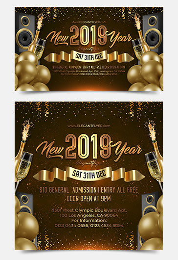 New Year Facebook Event + Instagram template + Youtube Channel Banner