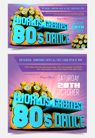 Worlds Greatest 80s Dance Facebook Event + Instagram template + Youtube Channel Banner
