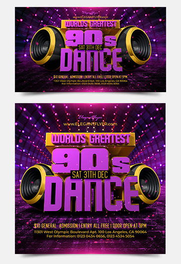 Worlds Greatest 90s Dance Free Facebook Event + Instagram template + Youtube Channel Banner