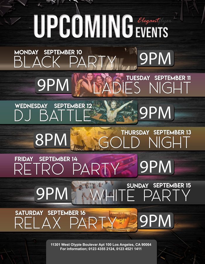 Upcoming events – Free Flyer PSD Template