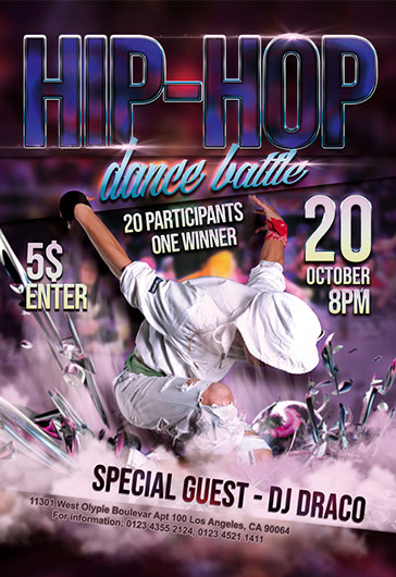 Hip-Hop dance battle – Flyer PSD Template