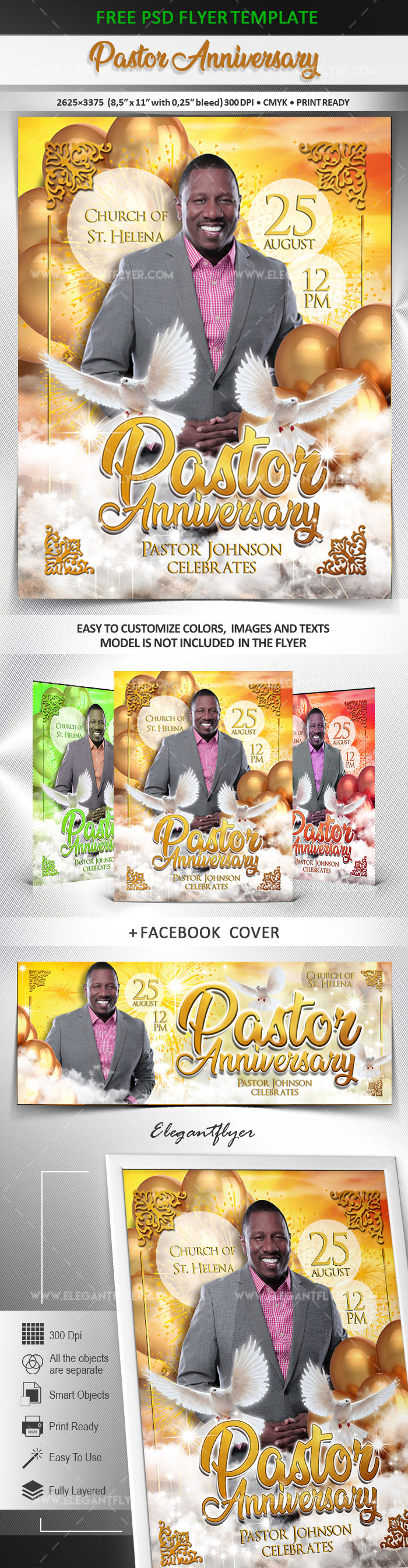 Pastor Anniversary – Free Flyer PSD Template