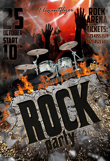 rock party  u2013 free flyer psd template  u2013 by elegantflyer